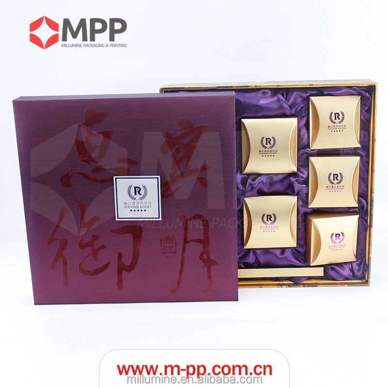 Delicate Eco Custom Made Cardboard Gift Packing Paper Mooncake Box