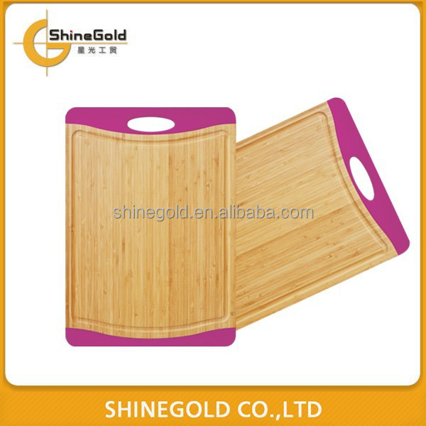 bamboo vegetable cutting board with TPR edge