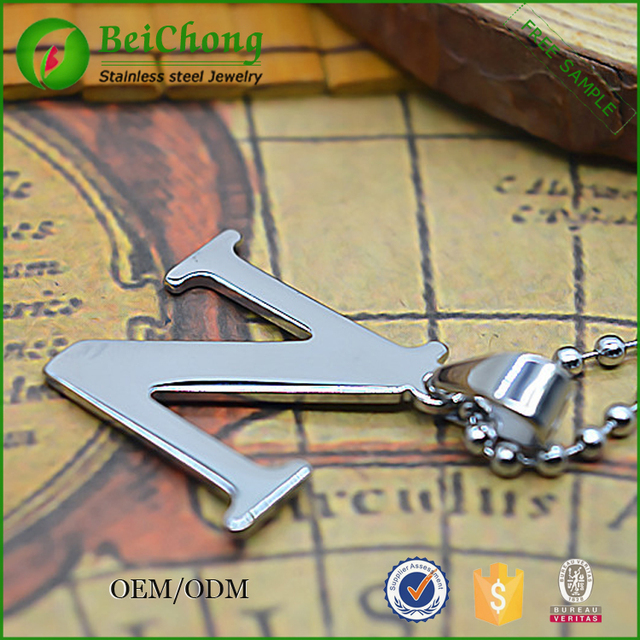 Wholesale Fashion Stainless Steel Cremation Hammered Letter N Pendant Jewelry Supplies