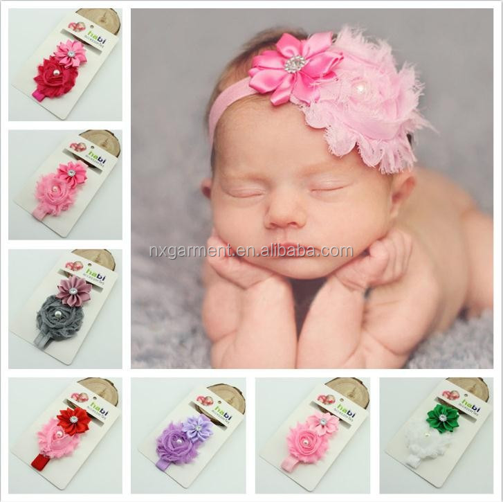Newborn stain Rose Pearl Lace Flower Hair Accessories Headwear baby <strong>headband</strong> Infant Children Baby <strong>Headband</strong>