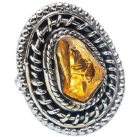 STYLISH ROUGH CITRINE RING 925 SOLID