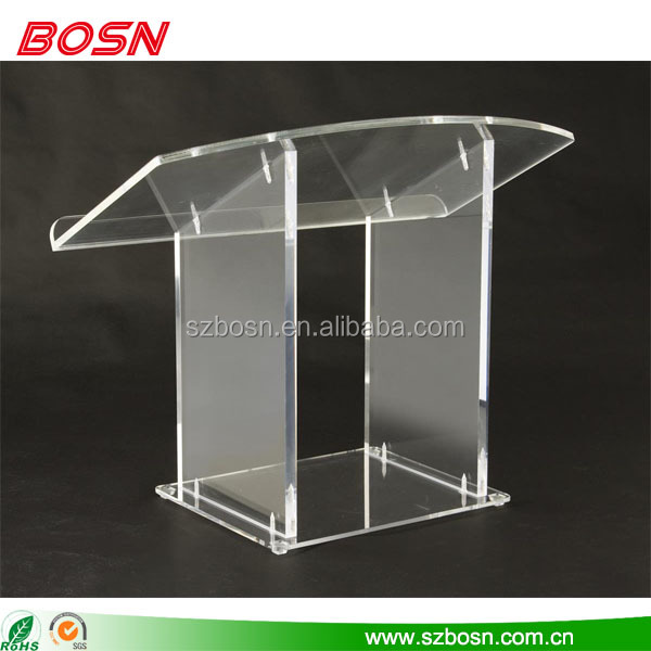 Clear acrylic podium pulpit portable lectern stand acrylic mini table top lectern