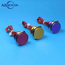 19MM Red/Blue/Green/Gold/Black Purple LED on-off Metal Anti vandal Piezo electric Switch Waterproof IP68