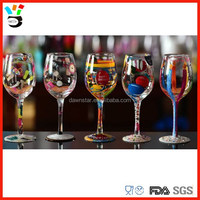 Unique Tableware Enterpieces Or Drinkingware Long Stem Hand Painted Wine Glass Pattern