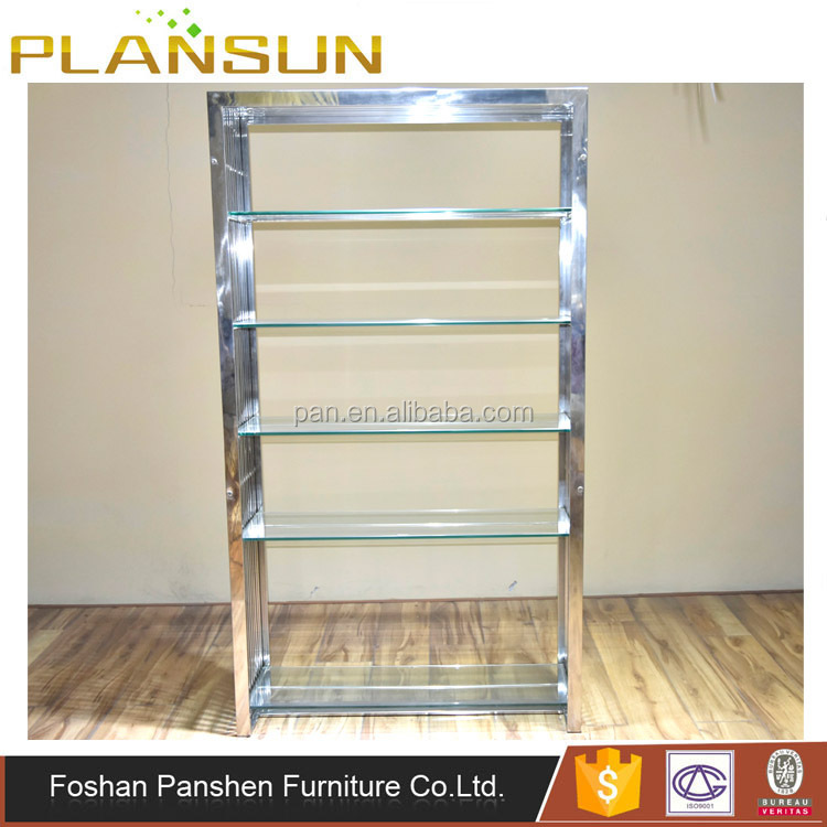 Stylish design furniture classic Gridiron 5 Shelf Silver Stainless Steel Bookcase