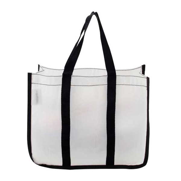 Clear Tote Bags PVC Beach Tote Bag With Black Webbing Handle Bag
