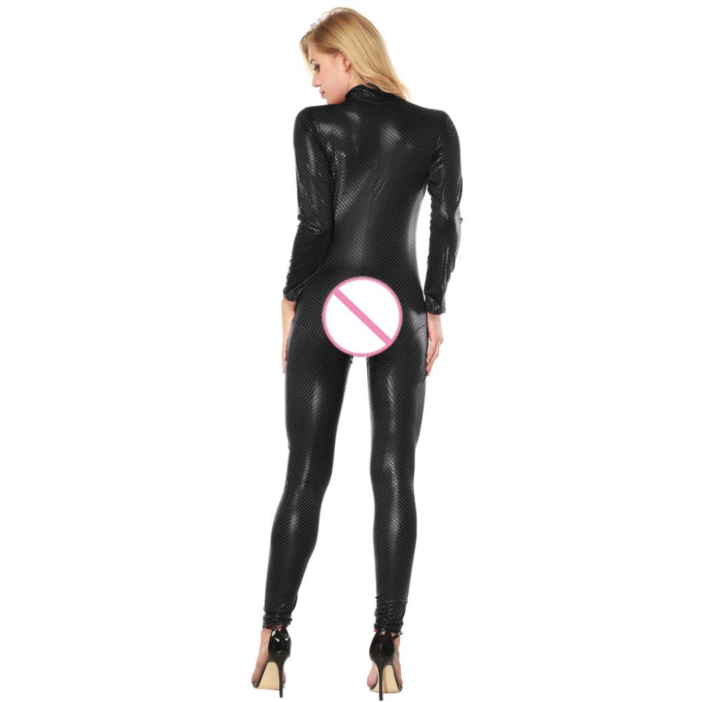 latex catsuit women sexy leather catsuit bodysuit