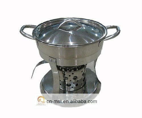 Stainless steel small hot pot with steel lid