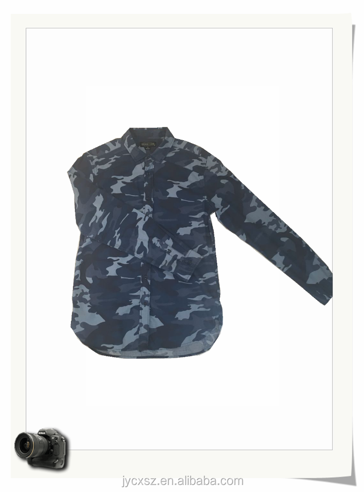 100%cotton printed camouflage long sleeve men shirt