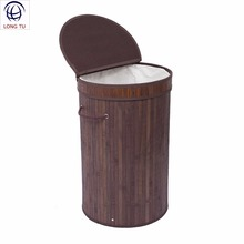 Decorative Collapsible Bamboo Laundry Basket Hamper with Removable Bag