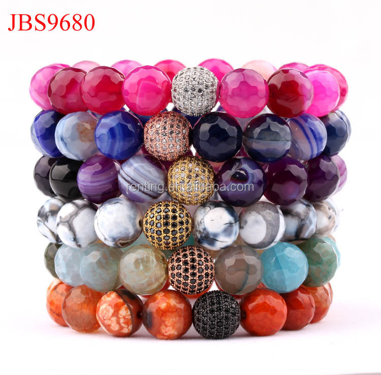 New Arrival 2018 spring&summer color 12mm natural faceted colorful agate stone beads elastic women bracelet
