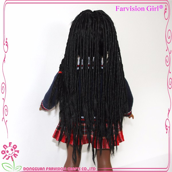 Handmade 18 inch black american girl doll with school uniform