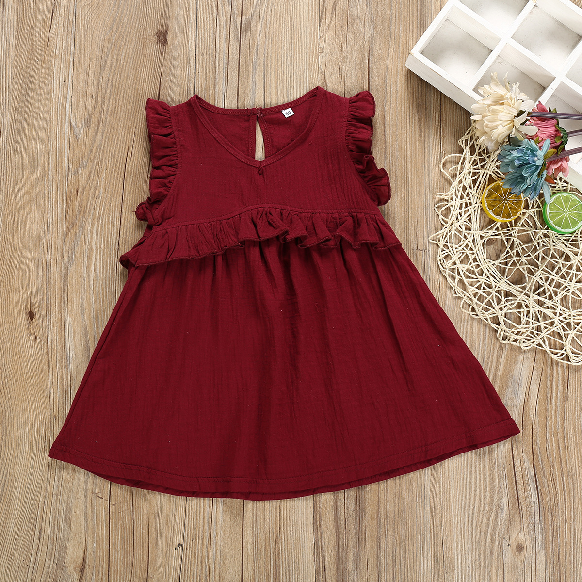 2019 cheap summer girl child cotton ruffles clothing dress with best service and low price