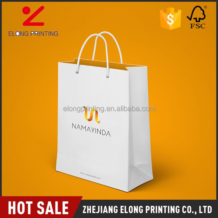 Latest arrival OEM design white large shopping paper bags wholesale