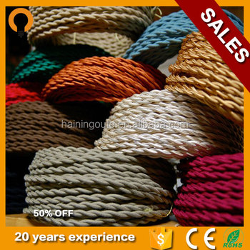 Electric Coloured Textile Fabric Roll Wire Cord Cable Lamp