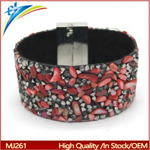 2017 Bohemian Style Indian Bracelet Wide PU Leather Colourful Stone Wrap Bracelets Female Wristband turkish jewelry