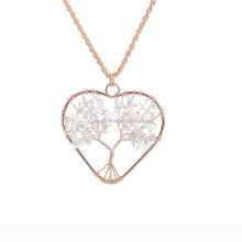Wholesale Alloy Heart White Crystal Wire Tree Necklace