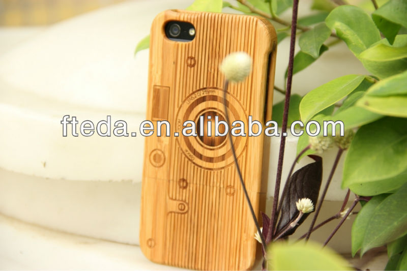 Camera Pattern Detachable bamboo Material Case for iPhone 4