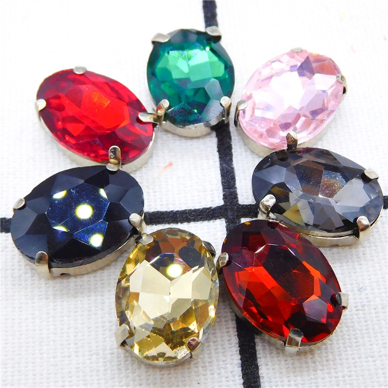 Wholesale Teardrop <strong>Crystal</strong> 13*18 With Metal Claws Settings Fancy Stones 10*14 Rhinestone Sew On Clothing shoes Accessories