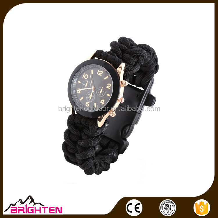 Black Outdoor Travel Paracord Survival Bracelet Watch