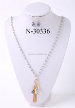 Elegant light purple crystal beads necklace with chains tassel and glass stone pendant