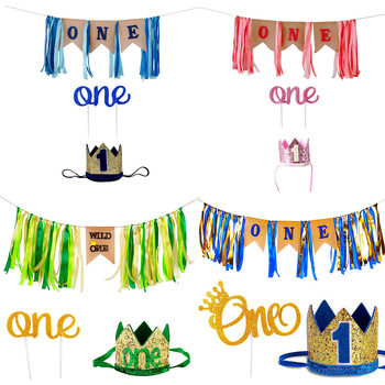 Boys and girls birthday flag crown set gradient children's table and chair skirt party decoration
