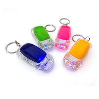 Mini car shaped colorful glow in the dark keychain,make your own Logo bling bling shine LED key buckles chain ring fobs keyring