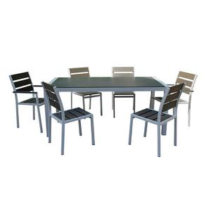 Minimalist leisure dinning furniture set powder spraying aluminum polywood restaurant chair and table