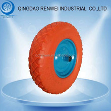 Orange Tire 16 inch Solid Rubber Wheel for Wheelbarrow with Steel Rim/4.80/4.00-8 Pu Foam Wheel & Flat Free Tire