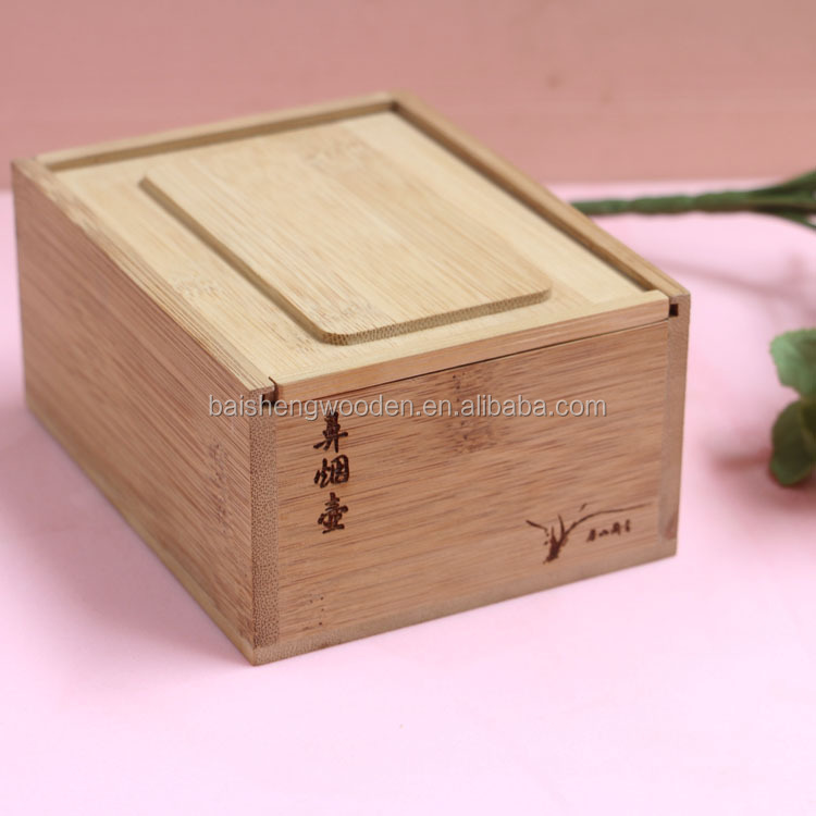 Creative bamboo wood rectangle shaped snuff bottle packaging box with smoked pull cover