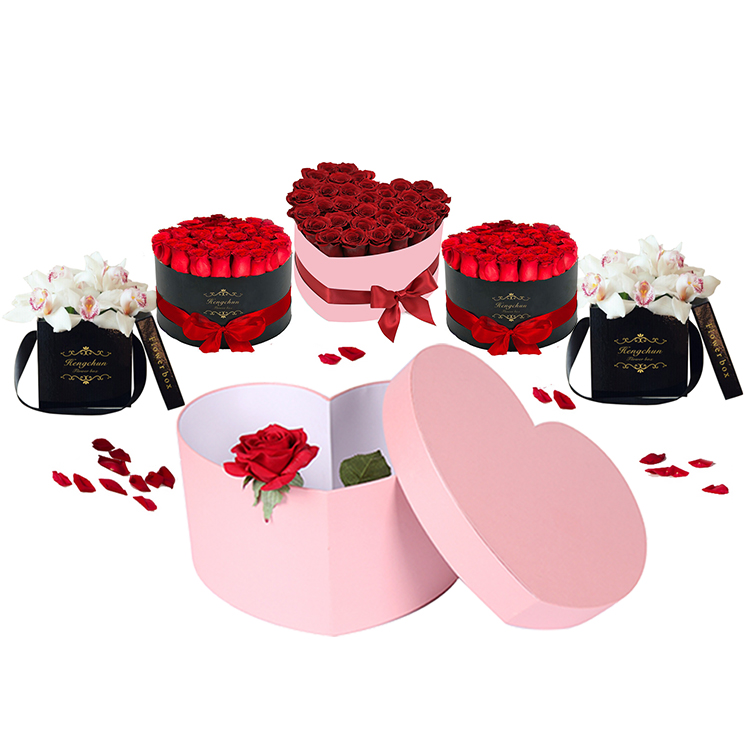 Different design luxury cardboard paper heart shaped florist flower hat gift box for roses packaging with custom logo