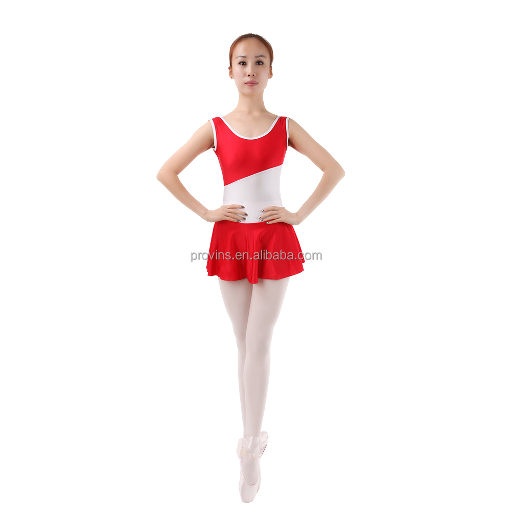 Adult Two-tone Wide Stripe at Waist Tank Leotard with Skirt Dance Dress Wholesale