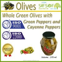 High Quality Table Olives.Green Olives with Green Peppers & Cayenne Peppers, Table Green Olives 370 ml Glass Jar