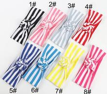 2018 baby knot headbands for girls striped solid hair accessories wholesale infant cotton hairbands cute headwraps