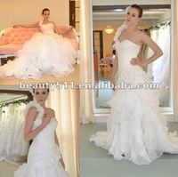 One-shoulder Count Train Decorated with Flower Ruffles Organza Wedding Dress WDS22