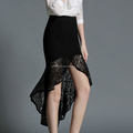 Wholesale black Bud silk fabric lace flounced ladies skirts