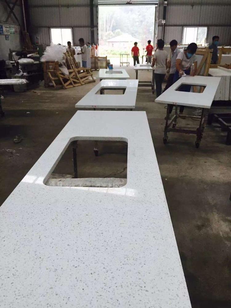 Blanco cuarzo encimera de la cocina de mesa de cuarzo - Encimeras de cuarzo precios ...