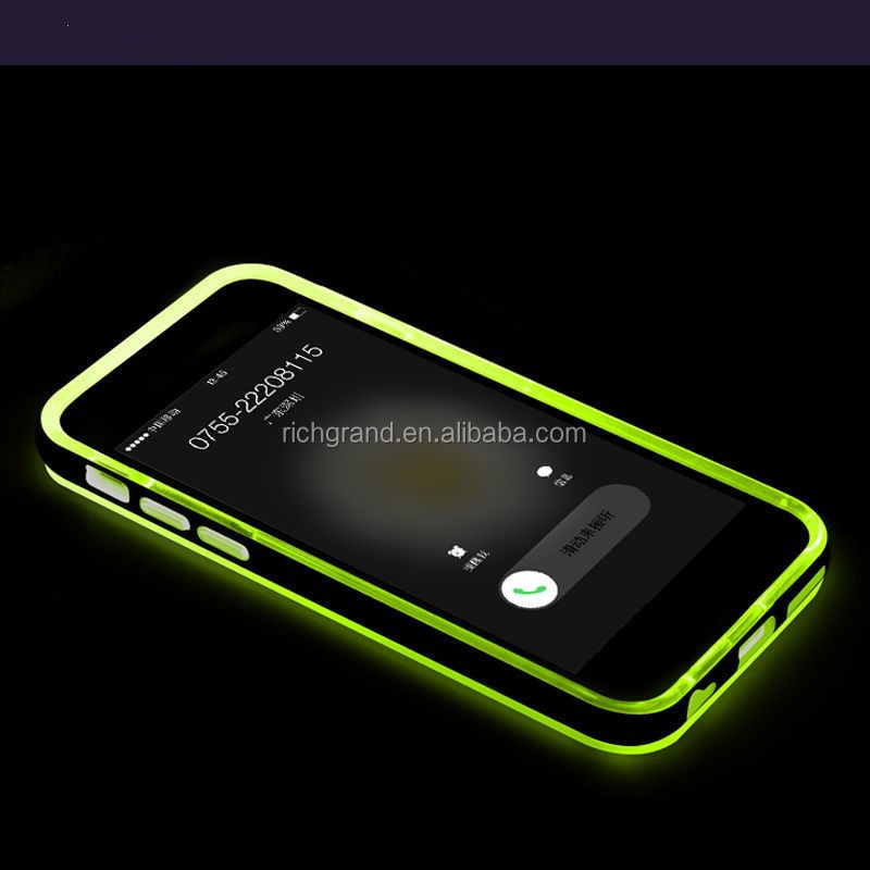 TPU incoming call LED flash transparent back case cover accessory for iphone 6 4.7''