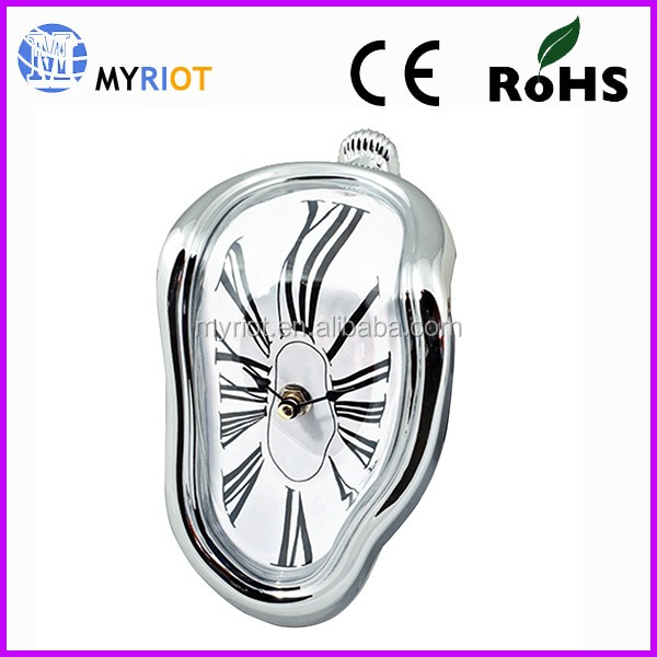 New Innovative 90 Degree Twisted Melting Wall Clock/Desktop Clock