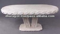 Oval Shape White Stone Drawing Room Table