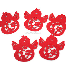 Customized laser cutting hen shape design felt coasters for home decoration