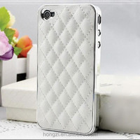 Luxury PU Leather Retro Elegant Soft Grid Skin Case for iphone 4 4S 4G / 5 5S 5G Hard Back Cover Phone Bag Affordable
