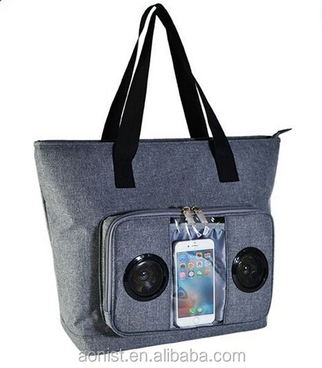 2016 New Large Tote Cool Travel Organizer Cooler Bag With Bluetooth Speaker
