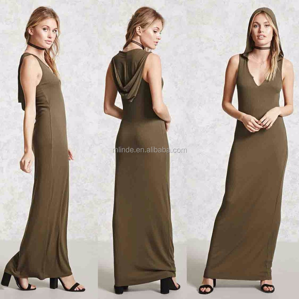 Latest Casual Dress Designs Contemporary Sleeveless Hooded Korean Style Casual Maxi Dress