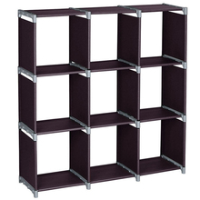 Multifunctional Assembled 3 Tiers 9 Compartments Storage <strong>Shelf</strong> Brown