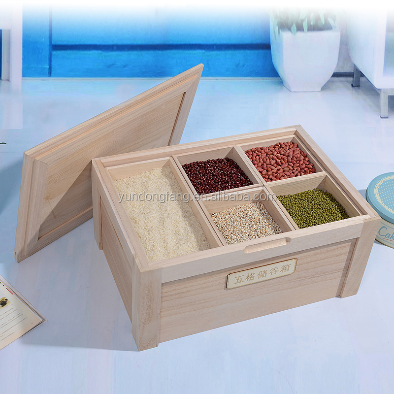 kitchen food storage wooden box with divider,rice box
