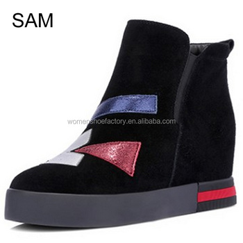 new fashion comfortable women genuine suede upper flange short wedge winter boots
