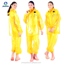 Hot sale gardening colorful PVC waterproof button and zipper raincoat with pants for men/women
