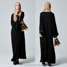muslim kimono abaya black with leather and rivet cuff design for turkish style fashion abaya