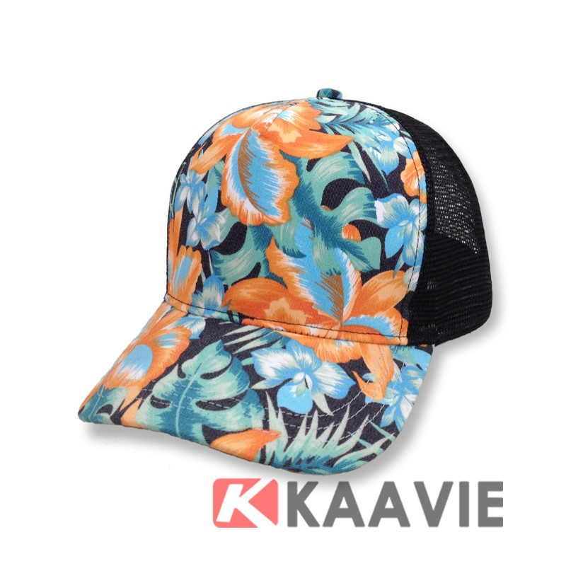 custom 5 panel Floral Hawaiian mesh trucker hat cap
